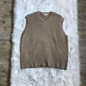 J. Crew XL Tan Brown Ribbed V Neck Vest Wool